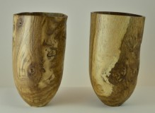 Green brown oak vases