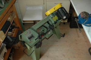 The bandsaw can also be flipped up and fitted with a table.